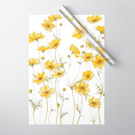 Yellow Cosmos Flowers Wrapping Paper