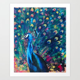 Psychedelic Peacock Art Print