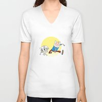 tintin V-neck T-shirts featuring Tintin Adventure by jasesa