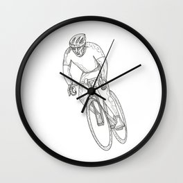 Road Bicycle Racing Doodle Wall Clock