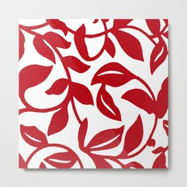LEAF PALM VINE IN RED AND WHITE PATTERN Metal Print