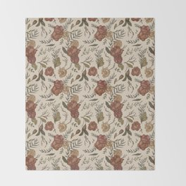 Antique Floral Pattern Throw Blanket