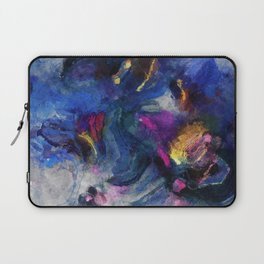 Contemporary Abstract Art in Blue and Yellow Laptop Sleeve