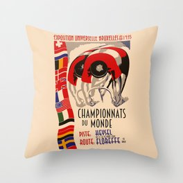 Retro cycling world championships 1935 Brussels Throw Pillow