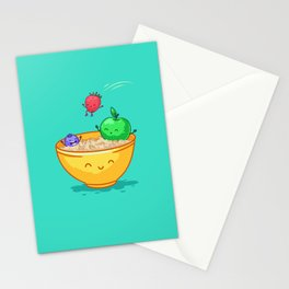 Fruit and oatmeal (Best friends. Character set.) Stationery Cards