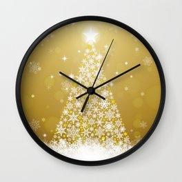 Gold Snowflakes Sparkling Christmas Tree Wall Clock