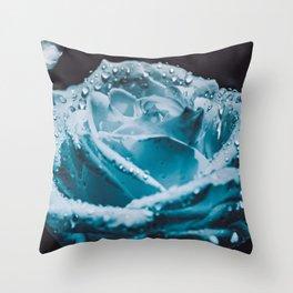 Dewdrops On A White Zen Rose. Throw Pillow