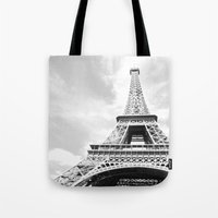 eiffel Tote Bags featuring Eiffel by Fallon Chase