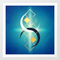 Floating Geometry :: Crescent Moons Art Print