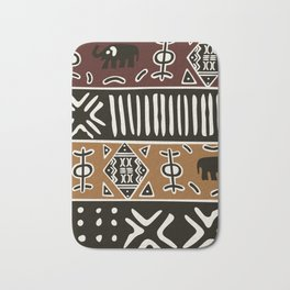 African mud cloth with elephants Bath Mat