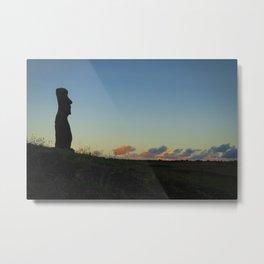 Moai statue ahu akapu at sunset, easter island Metal Print