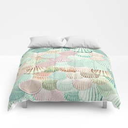 MERMAID SHELLS - MINT & ROSEGOLD Comforters