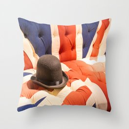 Black Bowler Hat on Union Jack Chesterfield Sofa Throw Pillow
