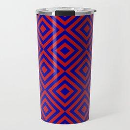 Red Blue Alternating Diamonds Travel Mug