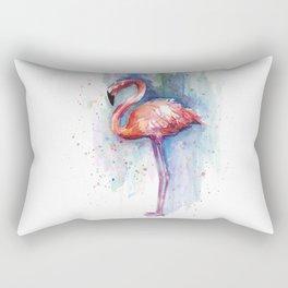 Pink Flamingo Watercolor Tropical Animals Birds Rectangular Pillow