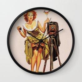 Pin Up Girl and Camera Wall Clock