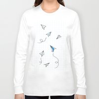 planes Long Sleeve T-shirts featuring Paper Planes by Svitlana M