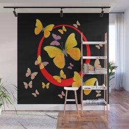 YELLOW BUTTERFLIES & RED RING  ABSTRACT ART Wall Mural