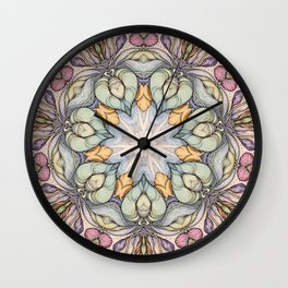 vintage flowers hand drawn and  kaleidoscope mandala Wall Clock