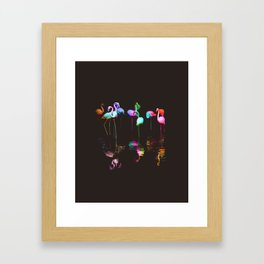 Rainbow Flamingos Framed Art Print