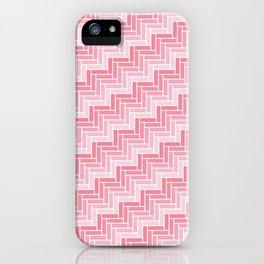 Pink Geometric Zig Zag Pattern iPhone Case