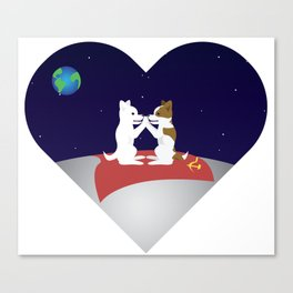 Belka and Strelka on the moon Canvas Print