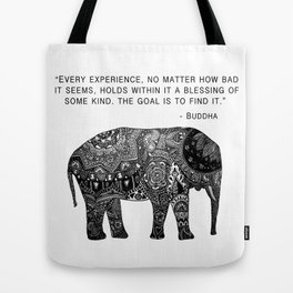 Buddha Quote with Henna Elephant Tote Bag