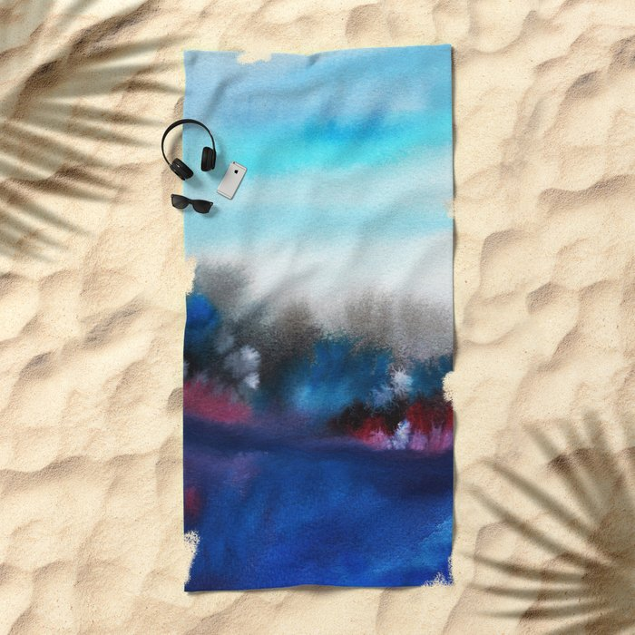 Watercolor abstract landscape 25 Beach Towel