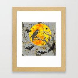 HALLOWEEN NIGHT BATS & RAVEN GOLDEN  MOON Framed Art Print
