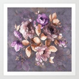 Vintage Mauve Wall Flowers Art Print