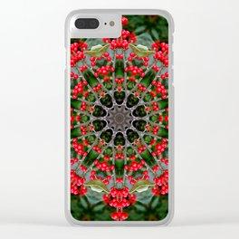 Winterberry holly, Ilex verticillata, mandala/kaleidoscope. Clear iPhone Case