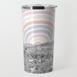 Happy Rainbow Rays // Scenic Desert Cactus Hill Landscape Watercolor Collage Dorm Room Decor Travel Mug