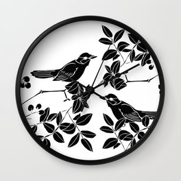 Birds on Branches, Drawing (Black on White) Wall Clock