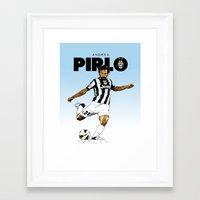 pirlo Framed Art Prints featuring Andrea Pirlo by Rudi Gundersen