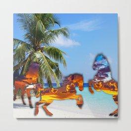 Sunset Horses on Beach Metal Print