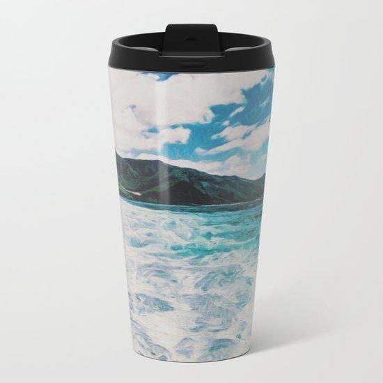 Hawaii Pacific Ocean Surreal Coast (Painting) Metal Travel Mug