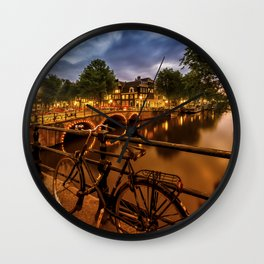 AMSTERDAM Evening impression from Brouwersgracht Wall Clock