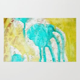 Artistic lime green teal hand painted watercolor Rug