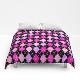 Pink Lavender Black Argyle Comforters