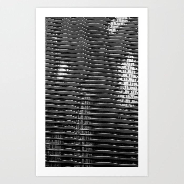 Wavy Aqua Building Photo Chicago Architecture Black And White Art Print