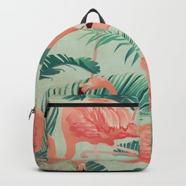 Flamingo Pattern on Mint Green - Kitschy Playful Tropical Palm Leaves Backpack