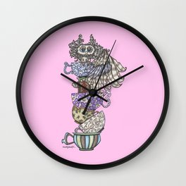 Owlice Wants Another Cup of Tea Pink Wall Clock