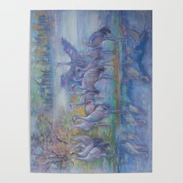 Wilde Birds in the forest lake Foggy morning Wildlife scene Autumn landscape pastel painting Poster