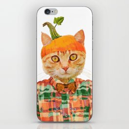 Orange Pumpkin Cat // Fall Decor iPhone Skin