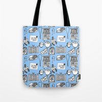 downton abbey Tote Bags featuring Downton Abbey by Valerie Jauma
