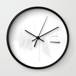 Ski Lift  // Black and White Snowy Climb Whiteout Foggy Minimal Epic Indie Alpine Photograph Wall Clock