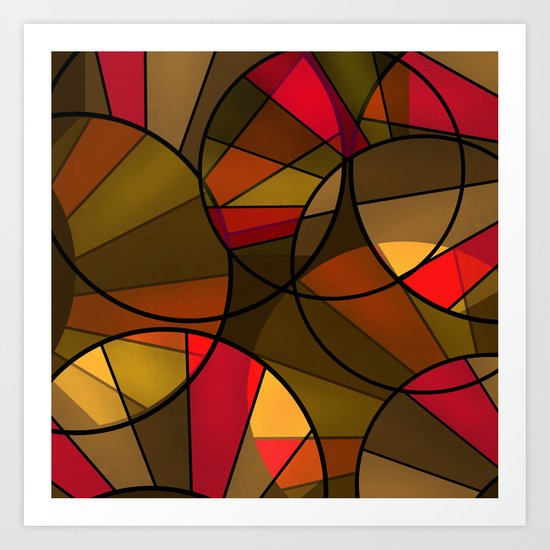 Red brown yellow black abstract pattern. Cycle . Art Print