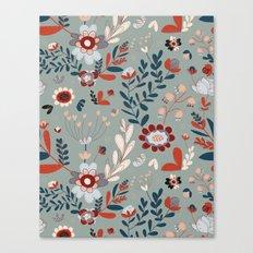 Deep Indigos & Gray Garden Hearts Canvas Print