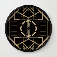 great gatsby Wall Clocks featuring MJW- GREAT GATSBY STYLE by MATT WARING
