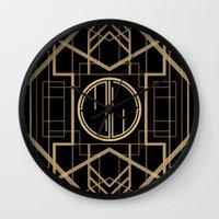 gatsby Wall Clocks featuring MJW- GREAT GATSBY STYLE by MATT WARING